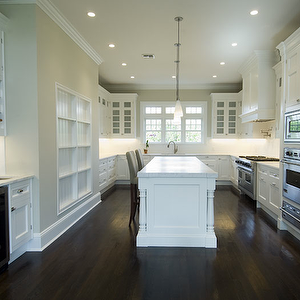 Bakes and Company - kitchens - gray, Parsons, stool, butler's pantry on tan walls white wainscoting, tan walls white fireplace, tan walls white curtains, tan walls white ceilings, tan walls white trim,