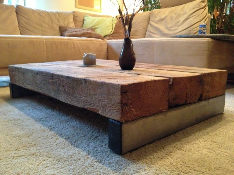 wohnzimmertisch aus sehr altem holz und edelstahl von. Black Bedroom Furniture Sets. Home Design Ideas