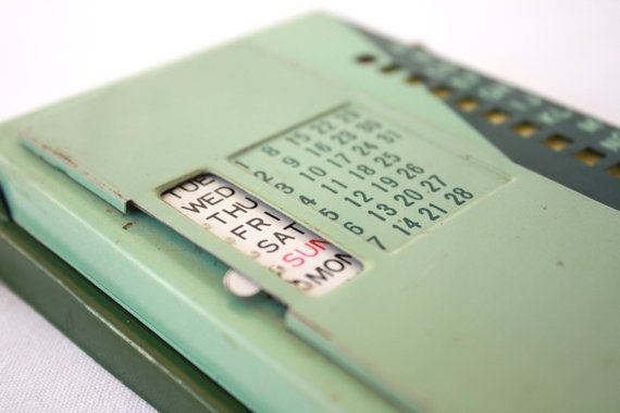 vintage metal address book calendar phone index green retro mid century