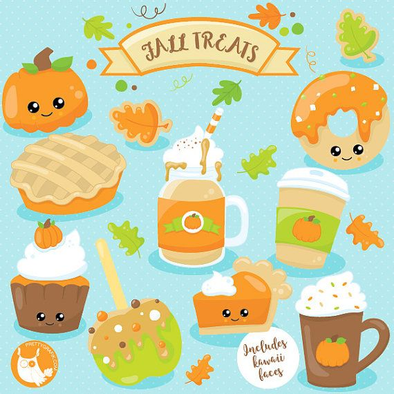 80% OFF SALE fall treats clipart spice latte by Prettygrafikdesign
