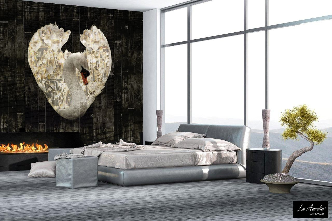 Royal Wings', a stunning Mural with wealthy elements and brilliant details. This wallpaper is a real statement and will turn your room into 'a lovely swan' Extend this Mural with matching Extensions. For more information or points of sale, visit our website: www.la-aurelia.com  #wallpaper #luxury #luxe #swan #bedroom #black #white #wallcovering #behang #wallart #art #mural #LaAurelia