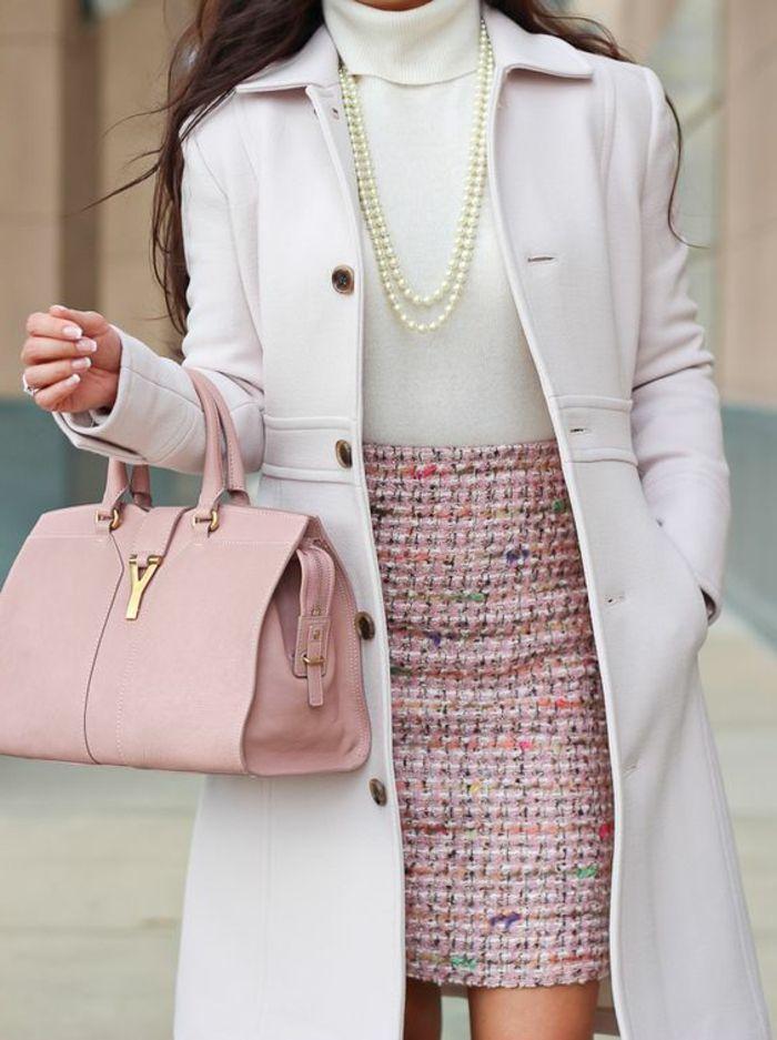chic manteau blanc jupe chanel idée comment s habiller robe classe bien s  habiller femme 15ddfd6869e