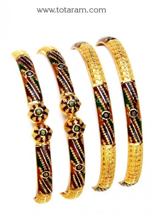 22K Gold Bangles Set of 4 2 Pairs Totaram Jewelers Buy Indian