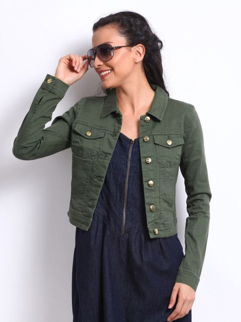 Buy ONLY Women Olive Green Denim Jacket - Jackets for Women | Myntra |  Green denim jacket, Green denim jacket women, Jacket outfit women