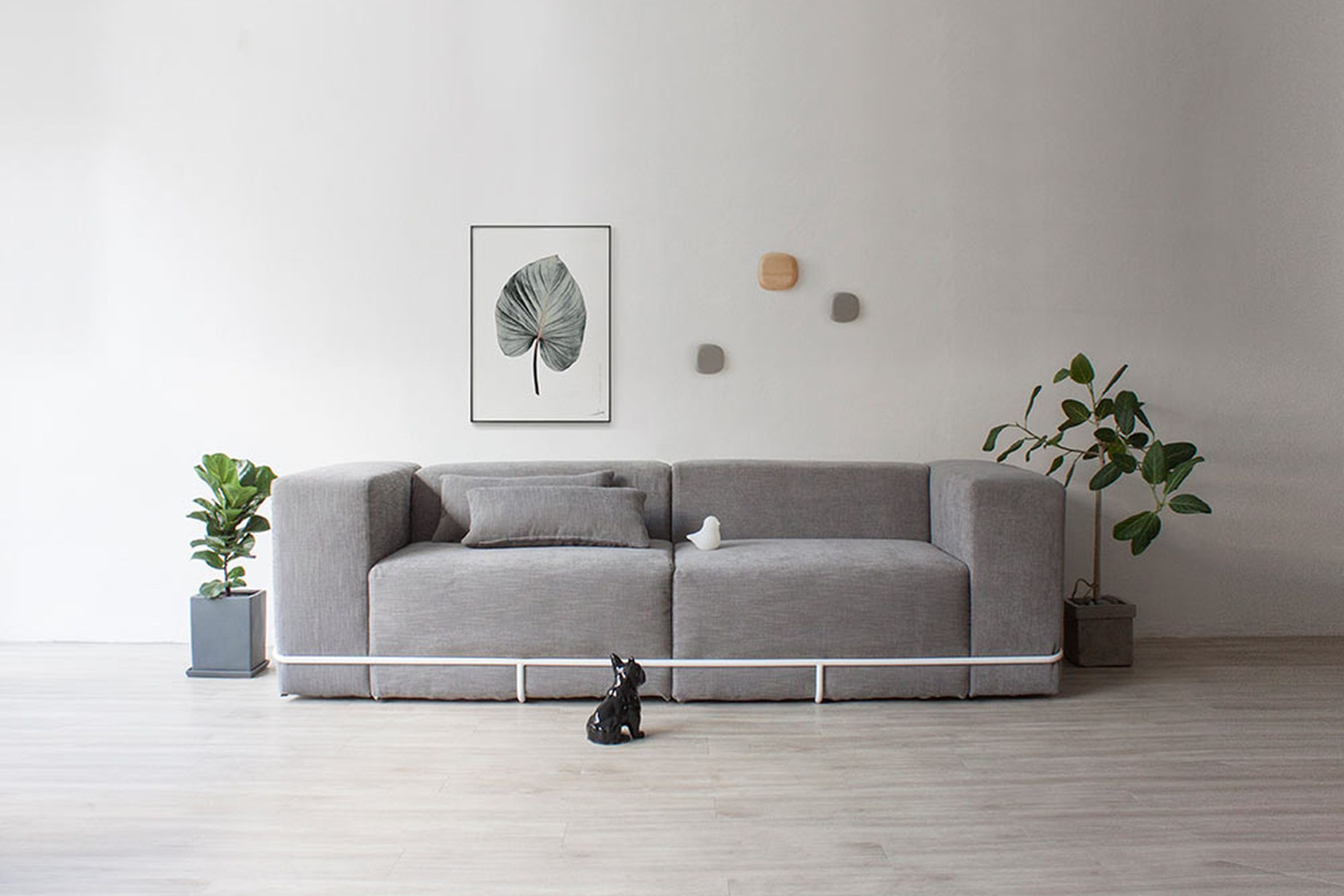 Minimalist Modular Sofa Combines Simple Steel Frame And Cushions Curbed