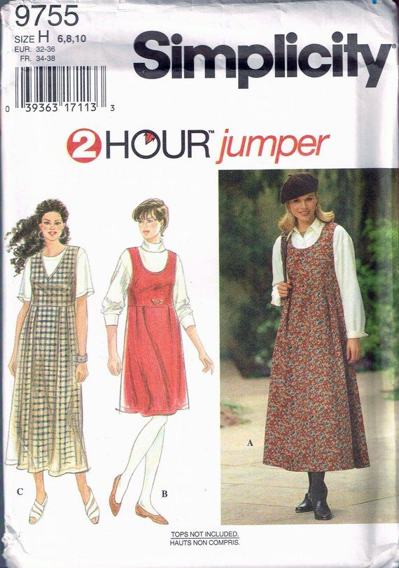 90d541cce524 Size 6-10 Misses  Easy Dress Sewing Pattern - Scoop Neck Jumper ...