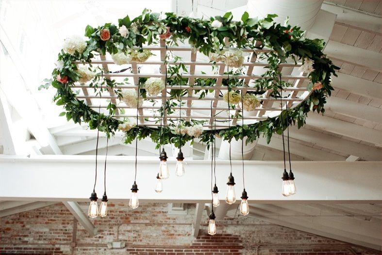 Garden inspired weddings hanging lattice edition light centerpiece. #portcityeventplannersweddings #lighting #gardenthemedwedding #floraldesign