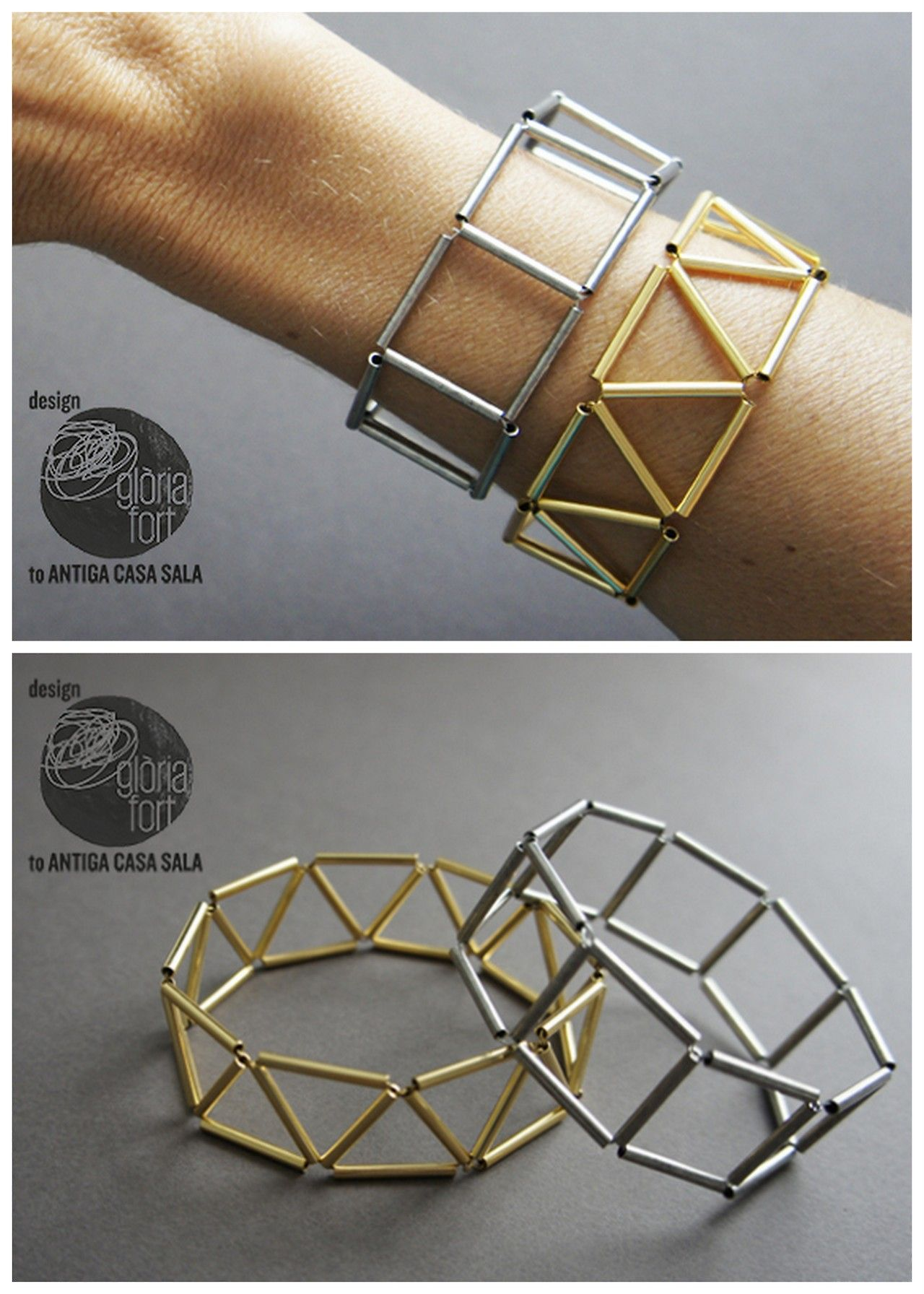 DIY Geometric Bead Bracelet Tutorial from Gloria Fort. This is a cheap DIY because you are making this geometric bead bracelet out of wire and tube beads.I used Chrome to translate. I've been seeing...
