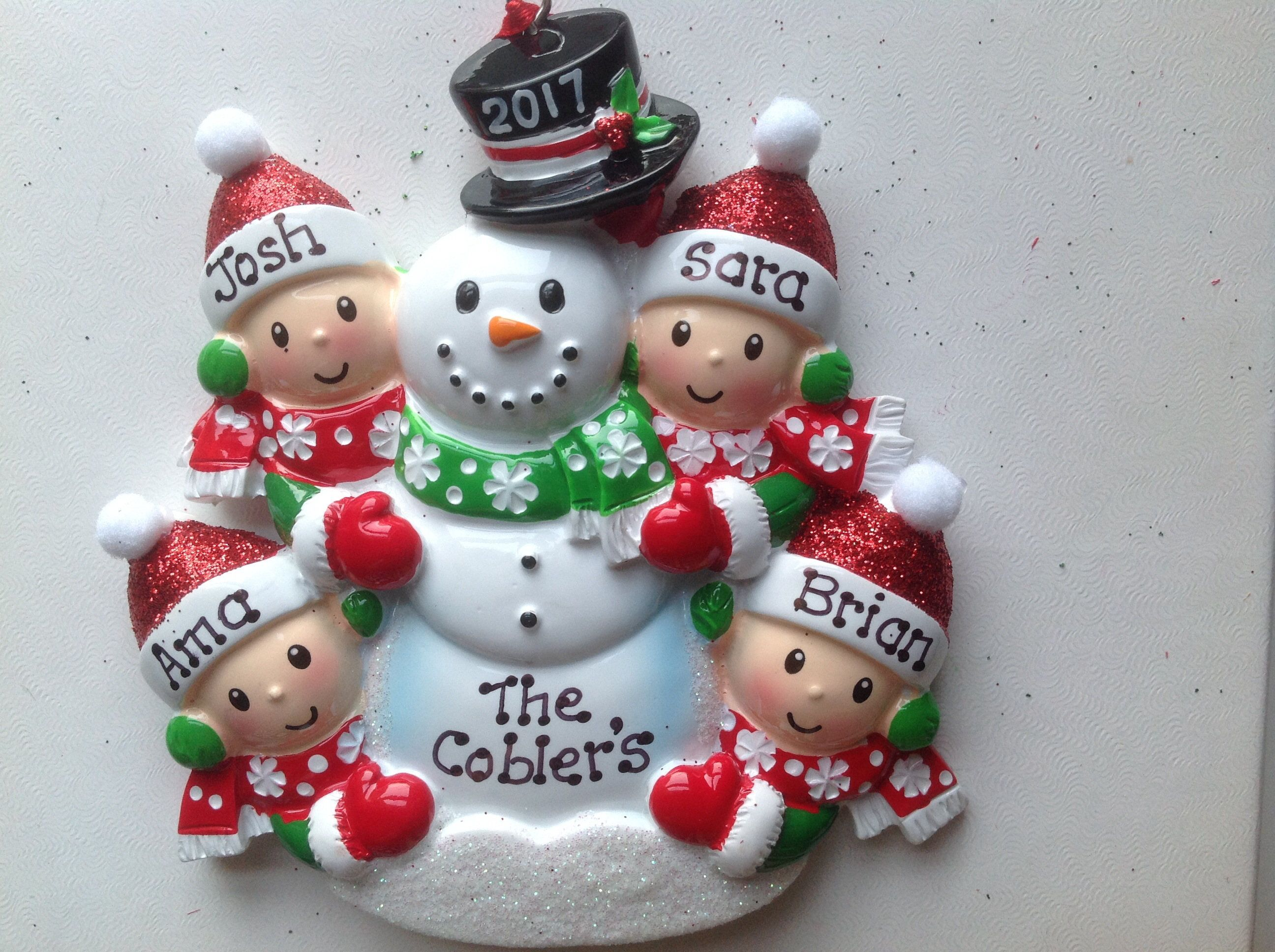 snowman family of four personalized christmas ornament four people