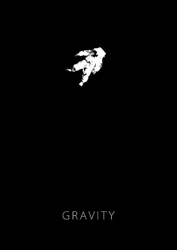 Gravity Minimalist Movie Poster Ink Black And White 11 X 17in Minimalist Movie Poster Movie Posters Movie Posters Minimalist