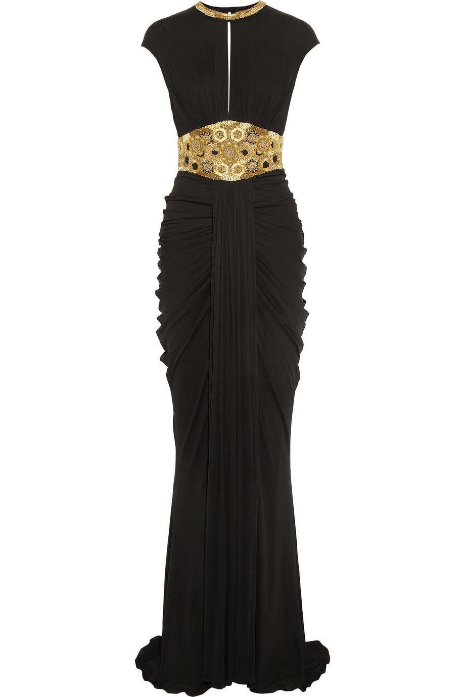 45fce94d Alexander Mcqueen Embellished Stretch-Jersey vestido de Negro   Lyst