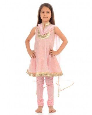 #Exclusivelyin, #IndianEthnicWear, #IndianWear, #Fashion, Gota Patti Anarkali Suit in Light Pink