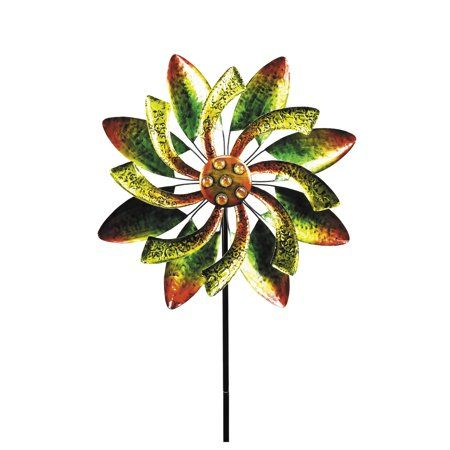 """Alpine Dual Action Floral Kinetic Wind Spinner Stake, 65"""" Tall - Walmart.com"""