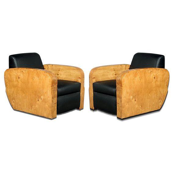 vintage art deco furniture. 7398 Pair Of Vintage Art Deco Burled Wood Club Chairs In Black Leather Furniture T