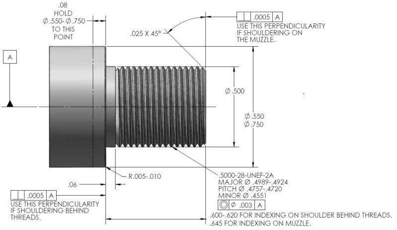 Thread Callout EXAMPLE Can a good machinest turn and thread a ar15 - new machinist blueprint examples