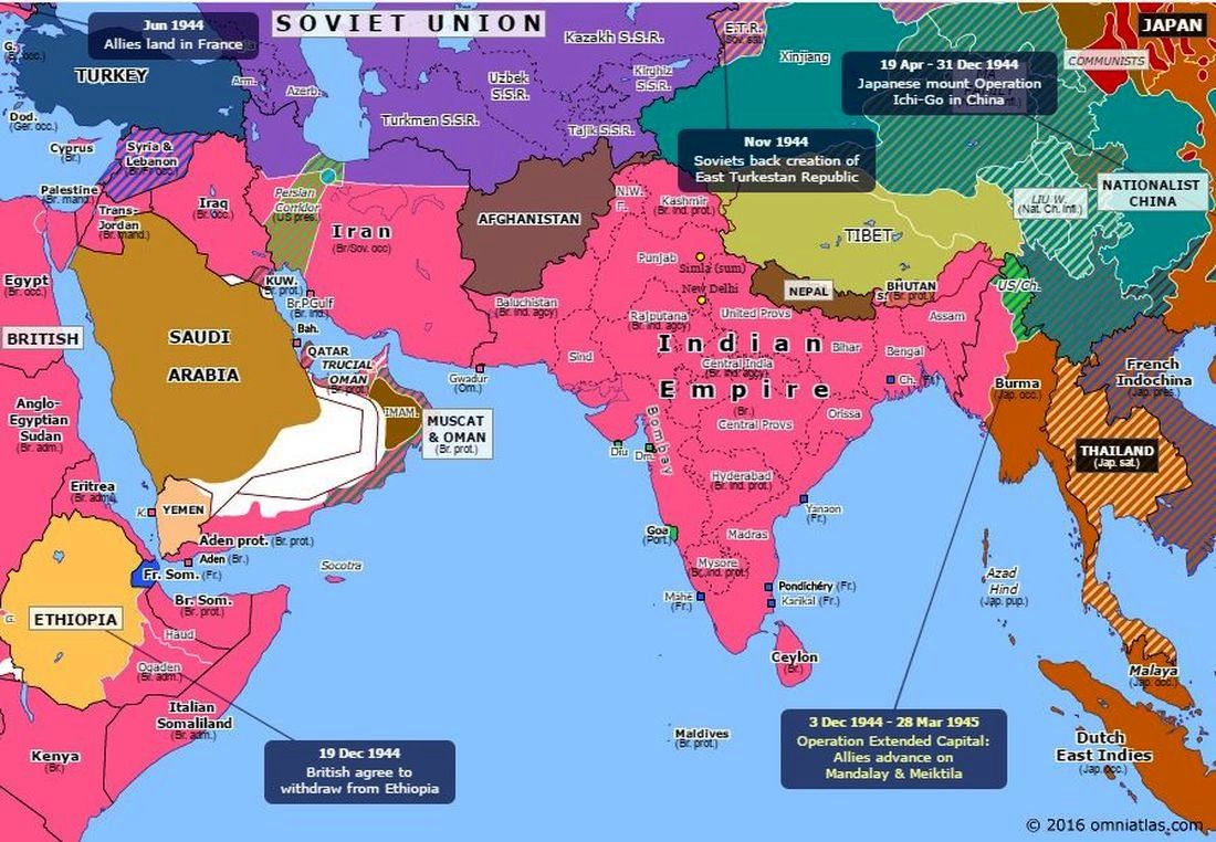 1945-02-20 Political map of South Asia | History: World War II ...