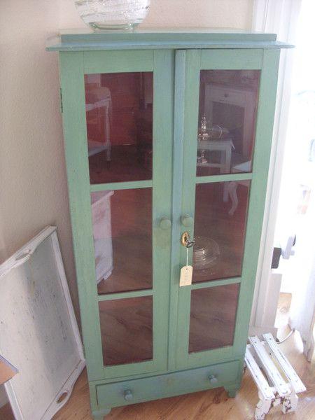 Vintage Schränke - Schweden Vitrine Schrank um 1830 grün - ein - vintage wohnzimmer grun