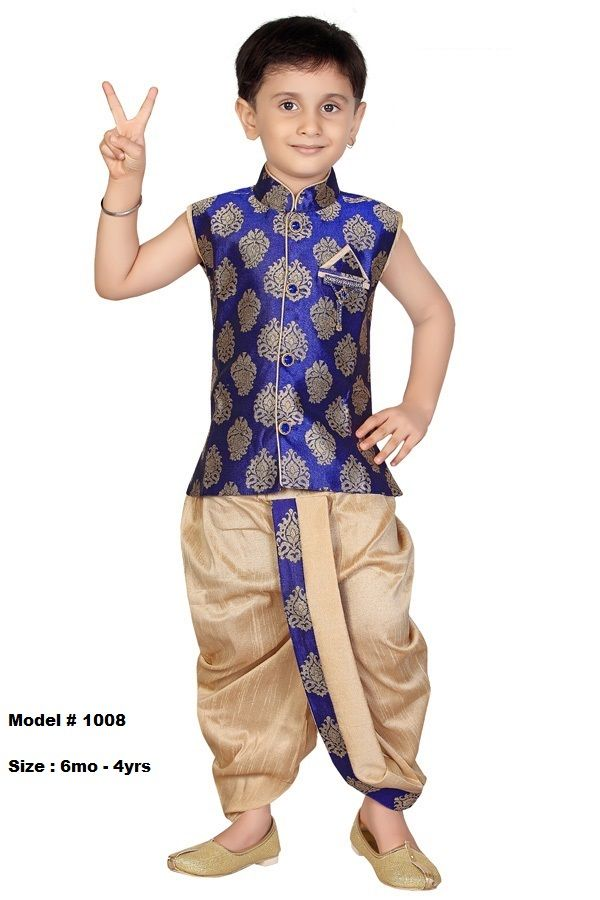 Ethnic Design Blue Beige Kids Dhoti Kurta Dress Set In 2019 Indian