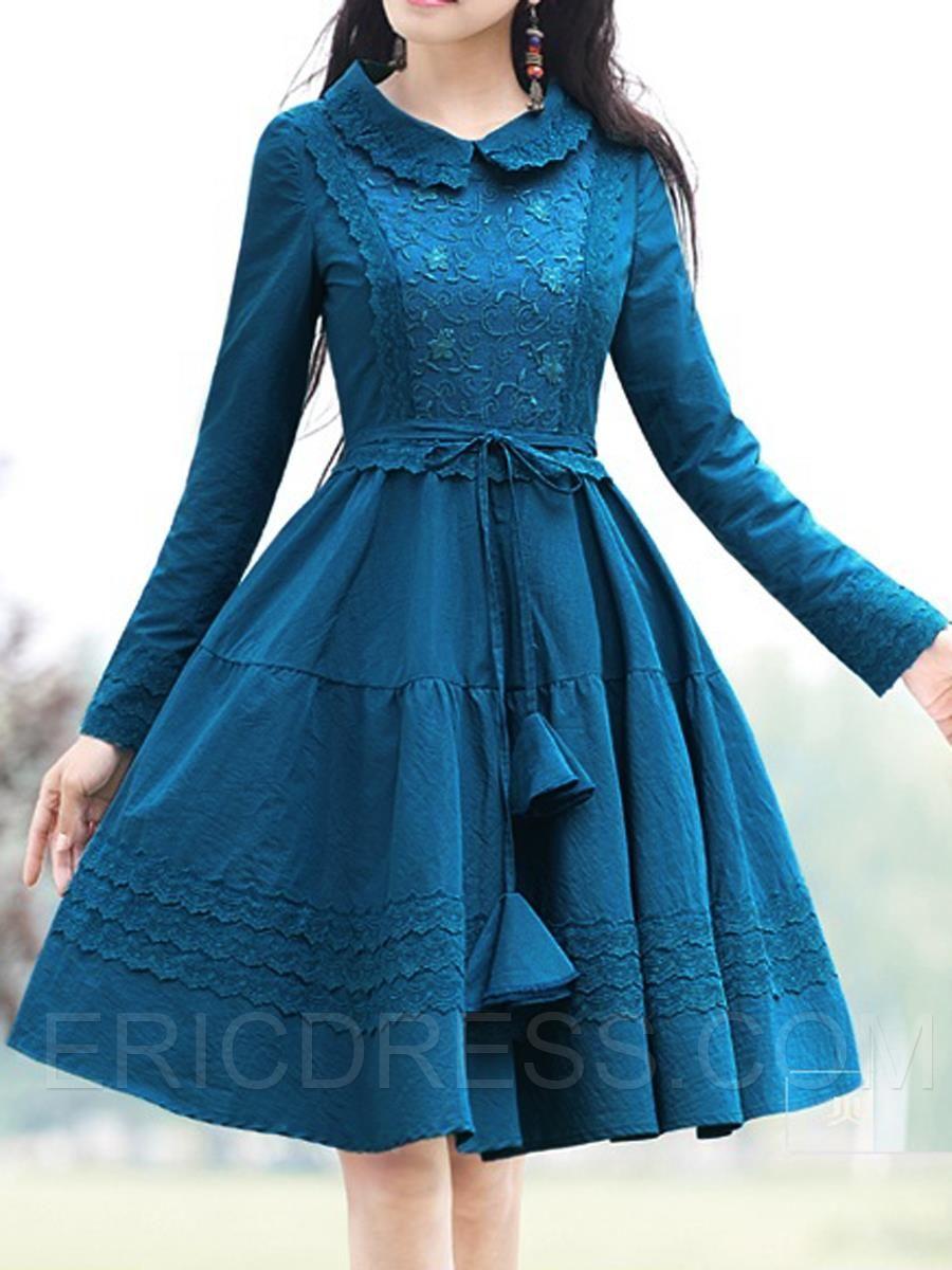 62 09 Ericdress Perter Pan Collar Lace Up Vintage Casual Dress Full Sleeve Short Dresses Cheap Dresses Casual Casual Dresses [ 1200 x 900 Pixel ]