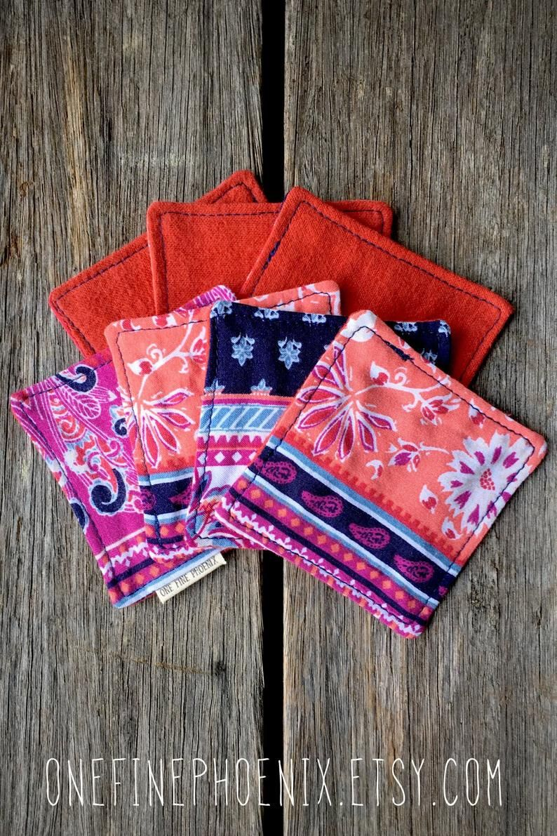 Eco friendly cloth face wipes Pink and orange reusable