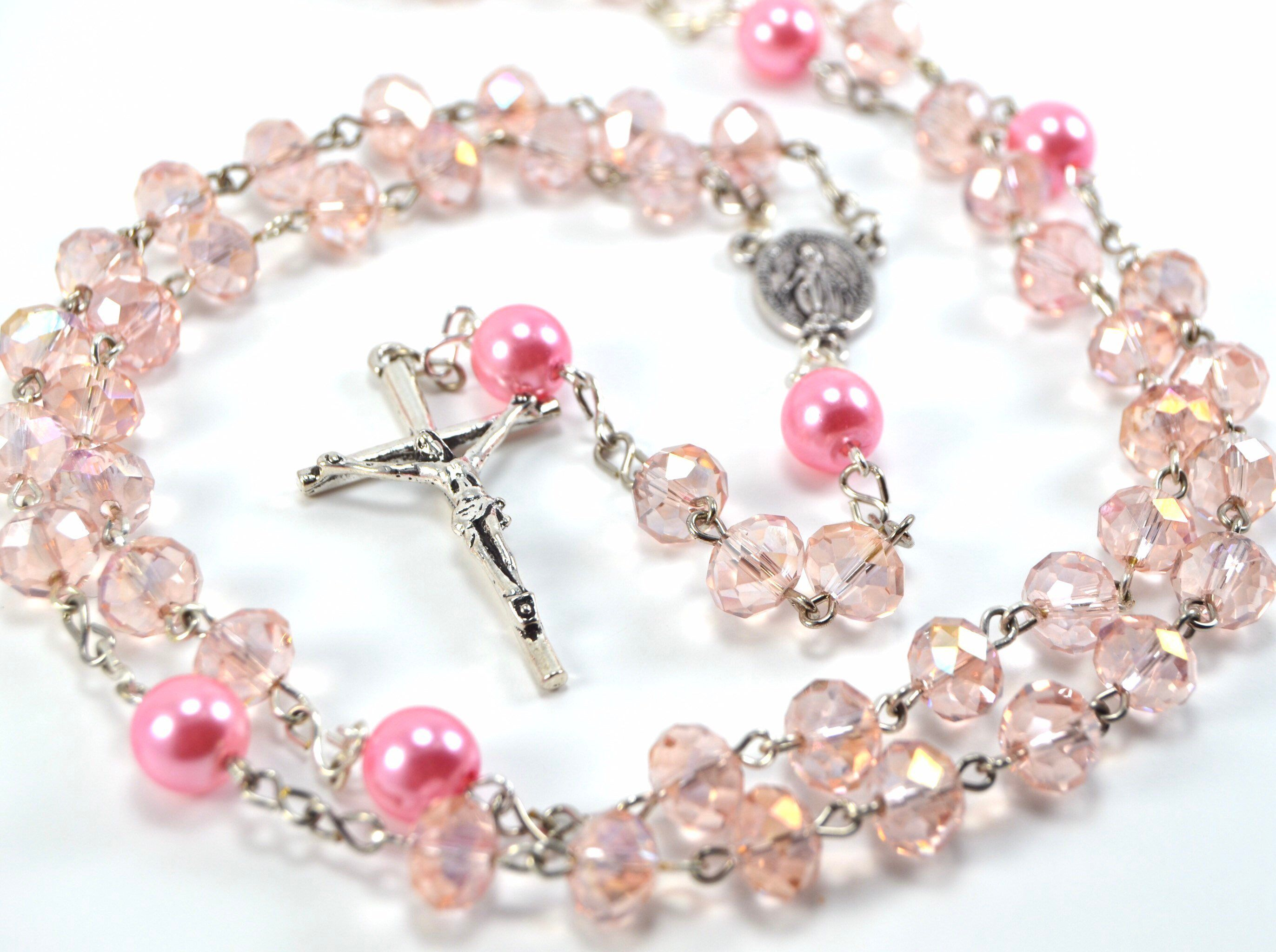 Baby Girl's Pink Crystal & Pearl Catholic Rosary for