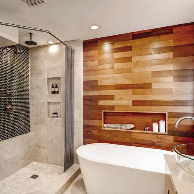 Wood Plank Wall Spalike Bathroom Remodel Construction2Style Impressive Spa Bathroom Remodel Decorating Inspiration
