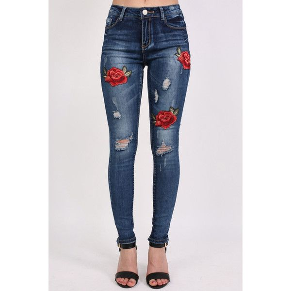 Pilot Floral Embroidered Distressed Skinny Jeans (1 885 UAH) ❤ liked on  Polyvore featuring jeans, denim, pantalones, roses, denim skinny jeans, ... 094c72430e4e