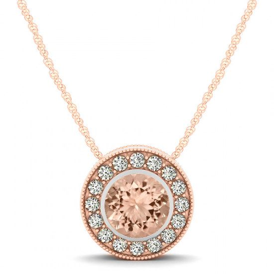 Morganite Diamond Halo Pendant Necklace 14k Rose Gold Morganite