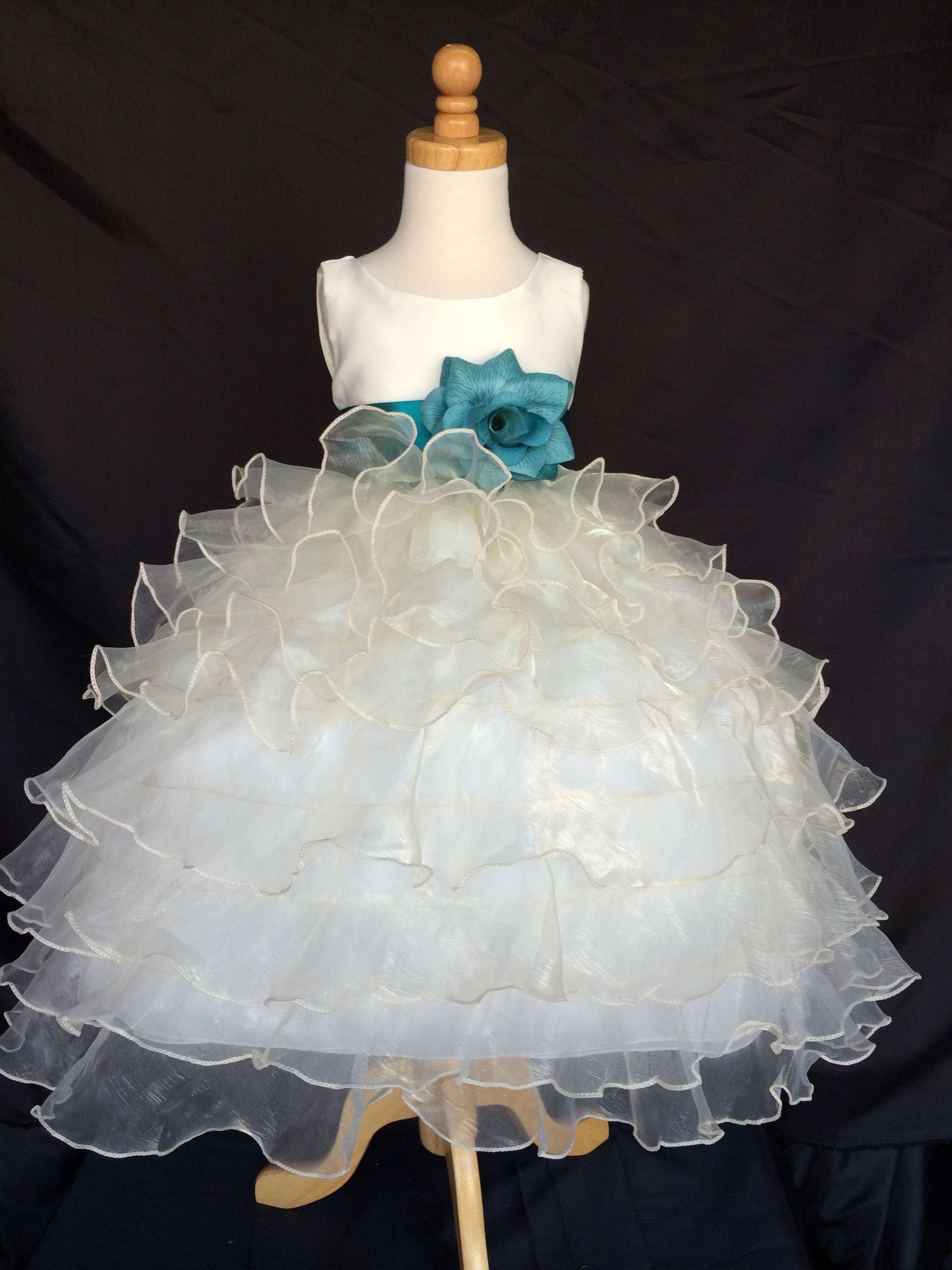 Flower girl bridesmaids ivory organza dress stunning sash and flower