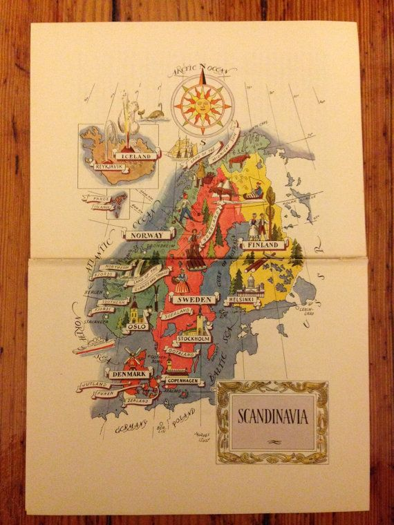 Scandinavia Artwork Old World Map Wall Art Print - Norway map to print
