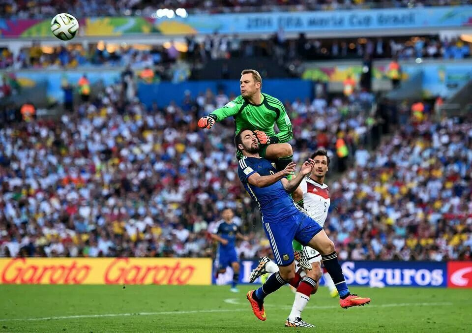 It was the turning point of this final... ridiculous decision from the ref..German keeper Manuel Neuer comes flying out...thankfully Gonzalo Iguain was unhurt after being floored...