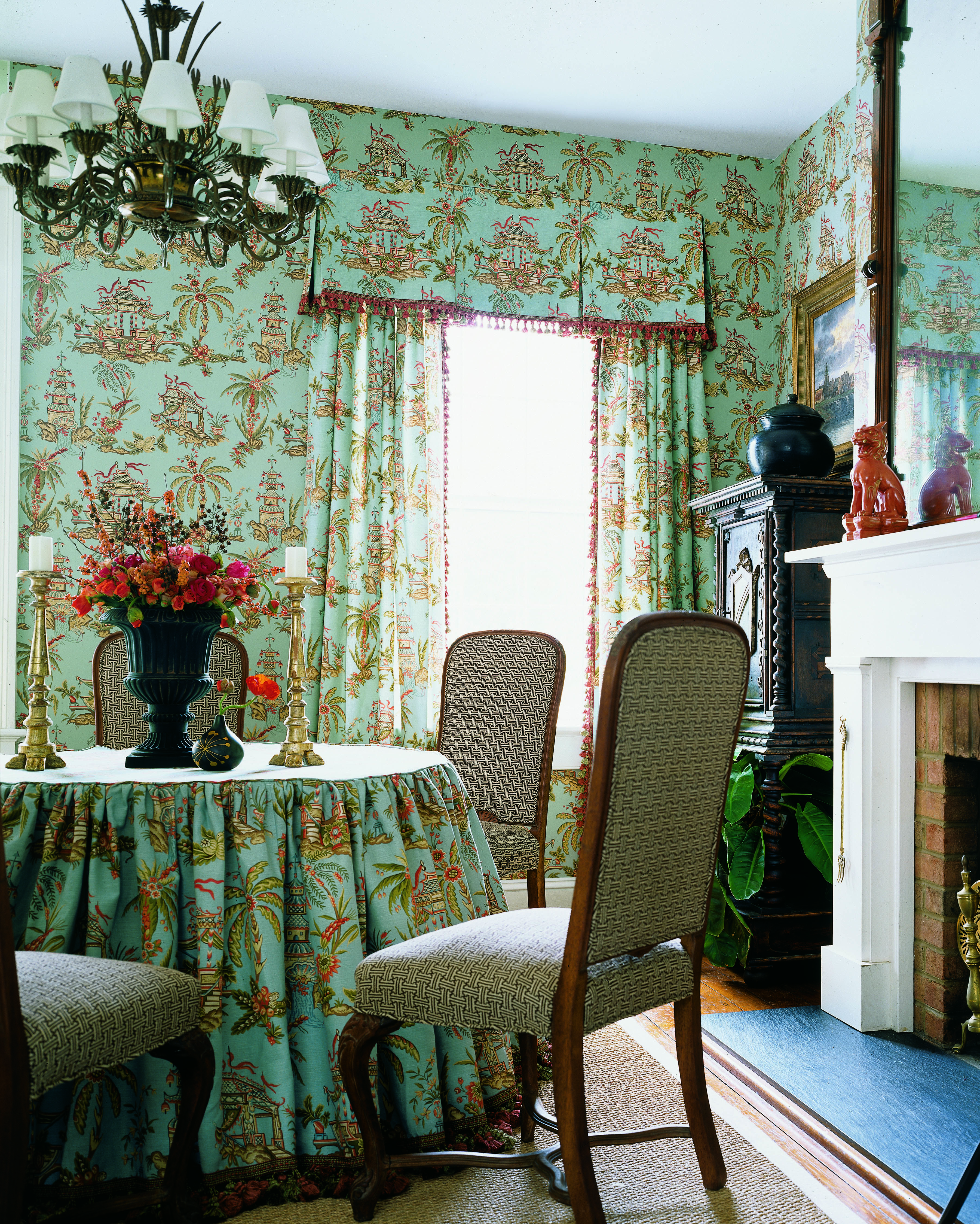 Tea House #wallpaper and #fabric in #teal from the Tea House ...