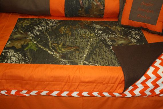 4 pc Mossy Oak camo   orange brown Baby by bedbugscreations, $150.00