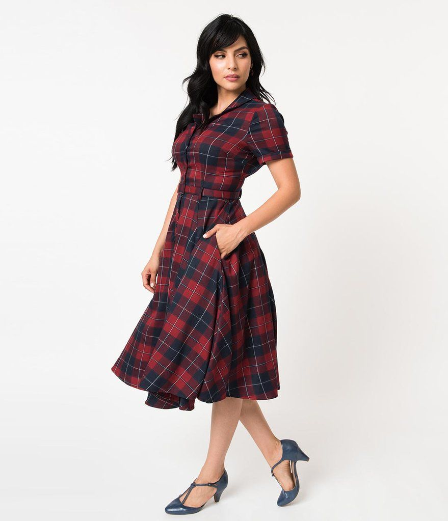 6d79789b79ea Collectif 1950s Navy & Burgundy Ginsburg Check Plaid Caterina Swing Dress