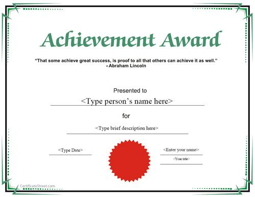 Special Certificate Achievement Award – Template Certificate of Achievement
