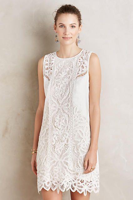 Laced Garden Shift Dress Anthropologie White Dress Lace Shift Dress Dresses