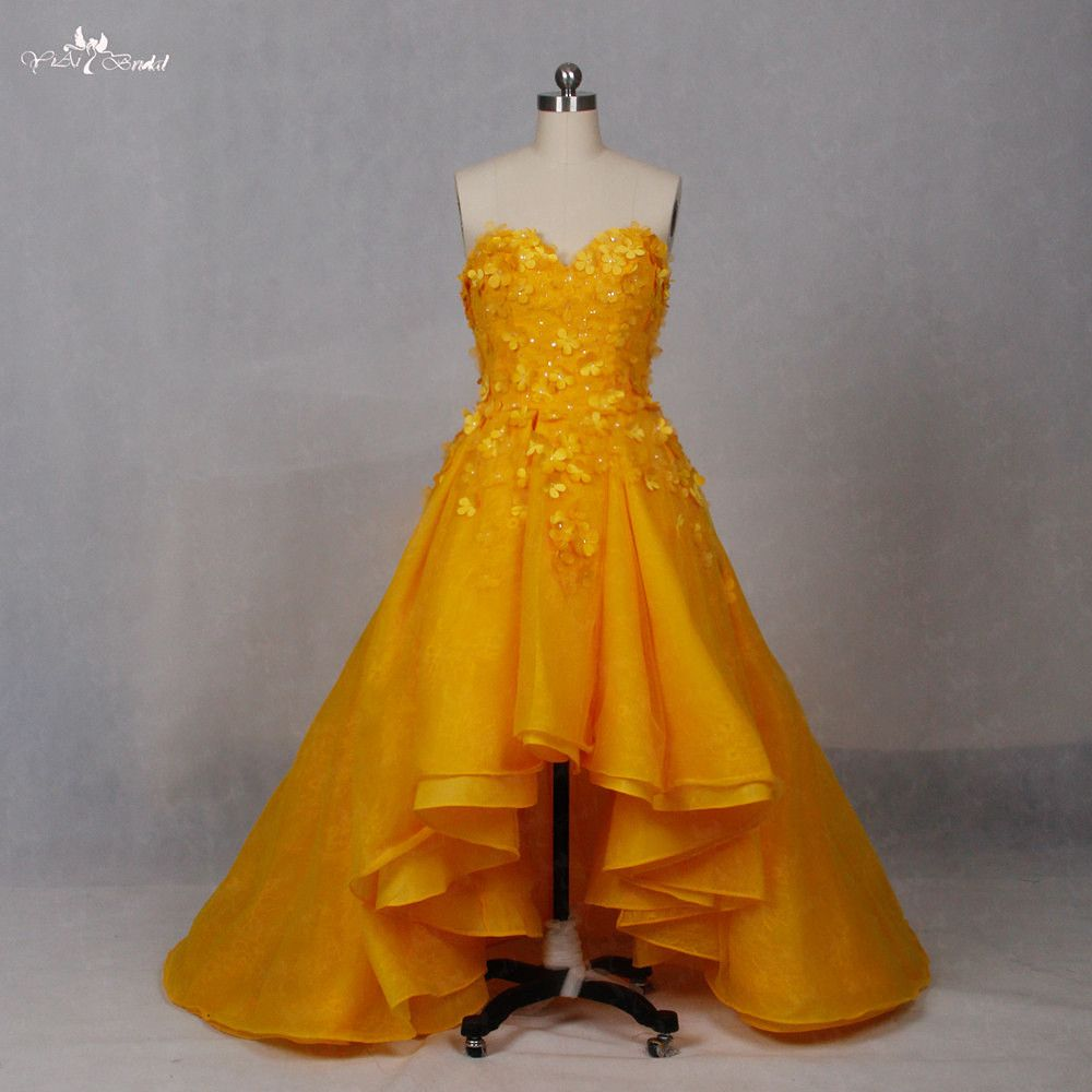 High low wedding dresses cheap  Click to Buy ucuc LZ Alibaba Yellow Real Wedding Dress Sweetheart
