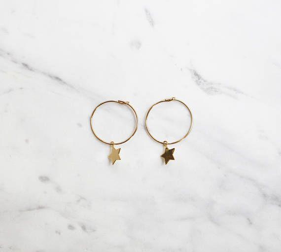 fb7ef080b Gold Star Hoop Earrings, Minimal Dangle Hoops, 14k Gold Filled, Star Charm  Hoops, Celestial Earrings