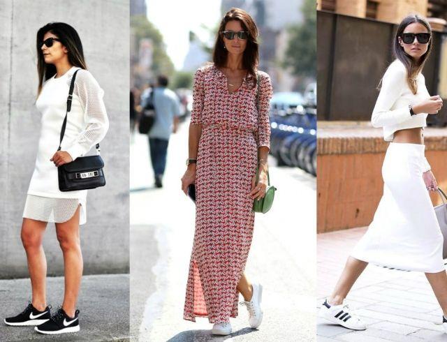 a85156193 Спорт-шик: как кеды и кроссовки носить с платьями и юбками ...