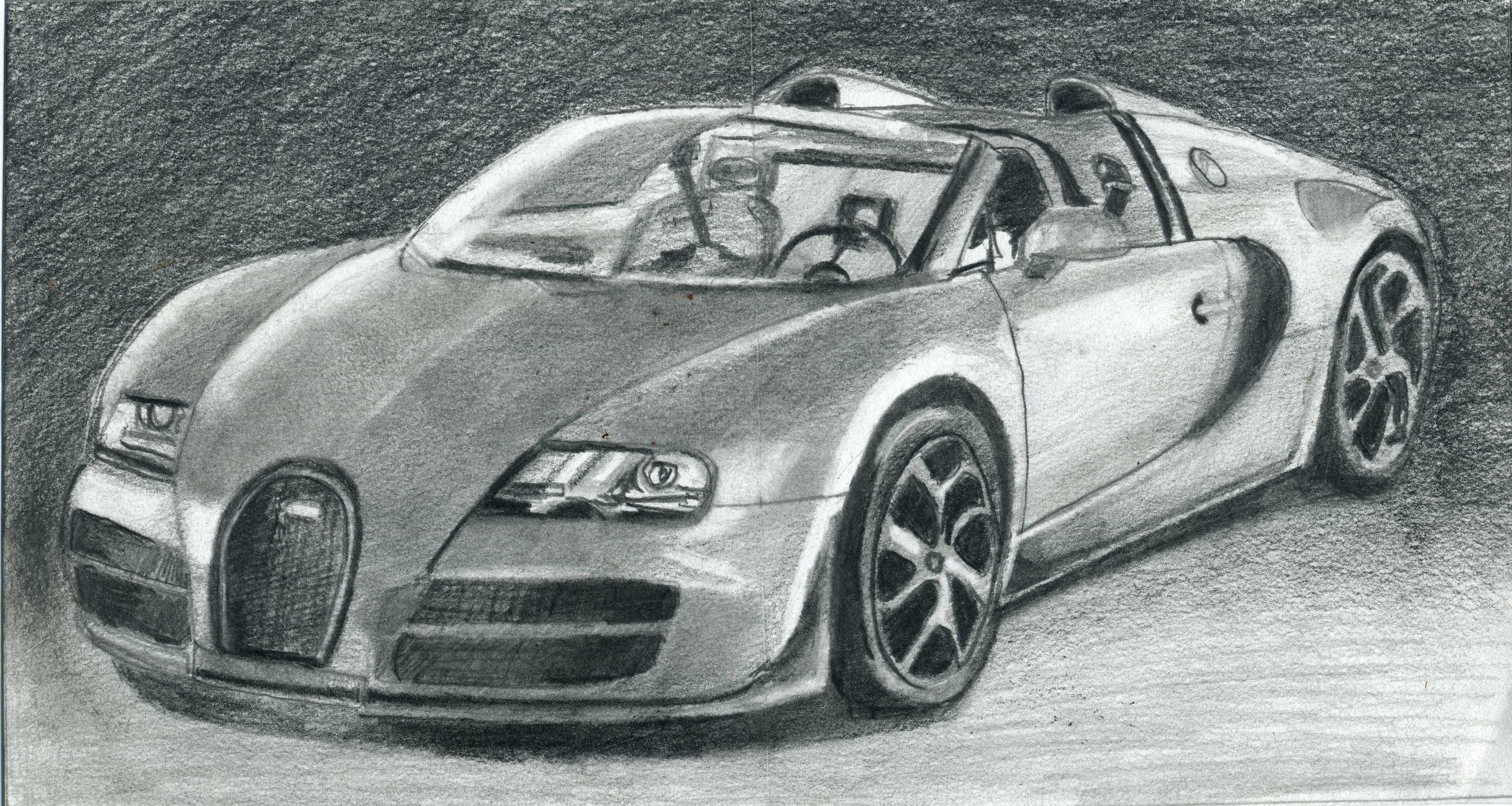 How To Draw Bugatti Veyron Super Car Step By Step With Images