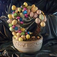 Easter wreath in porcelain bowl. Cute center piece or tablescape piece.