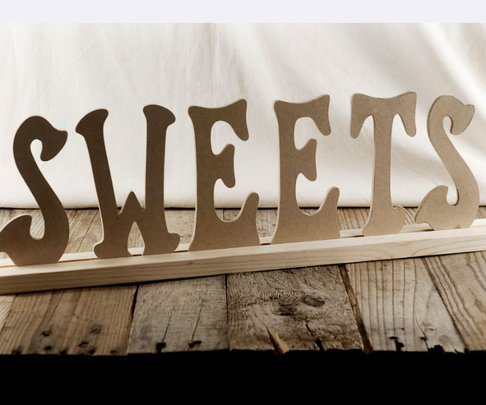Wood letters and stand sweets 21 long for the candy for Standing wood letters to paint