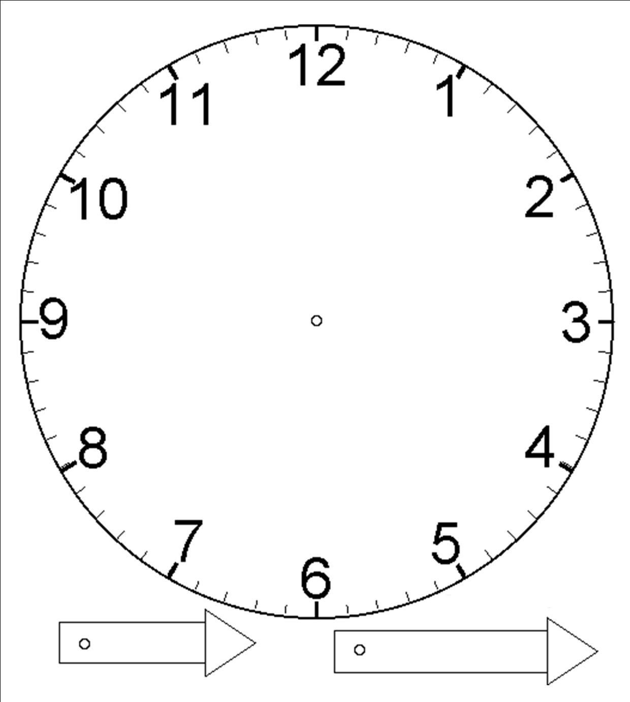 Template For Clock With Moveable Hour And Minute Hand Laminate