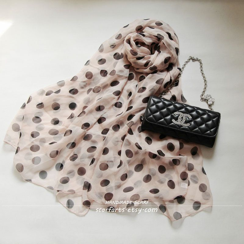 "Nude Peach Pink Silk Scarf With Large Dots- Light Weight Large Nude Blacek Large Polka Dots Shawl Pashmina - 79""x25""  $33.50"