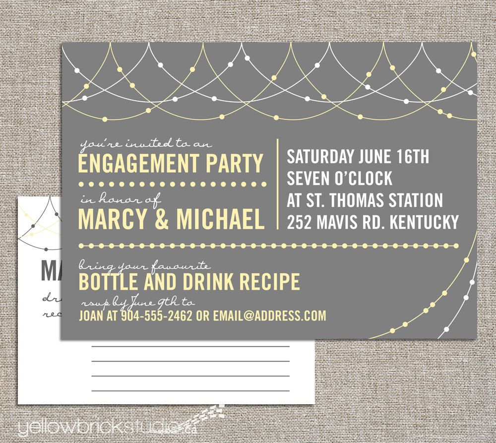 engagement stock the bar party invitation and drink recipe card, invitation samples