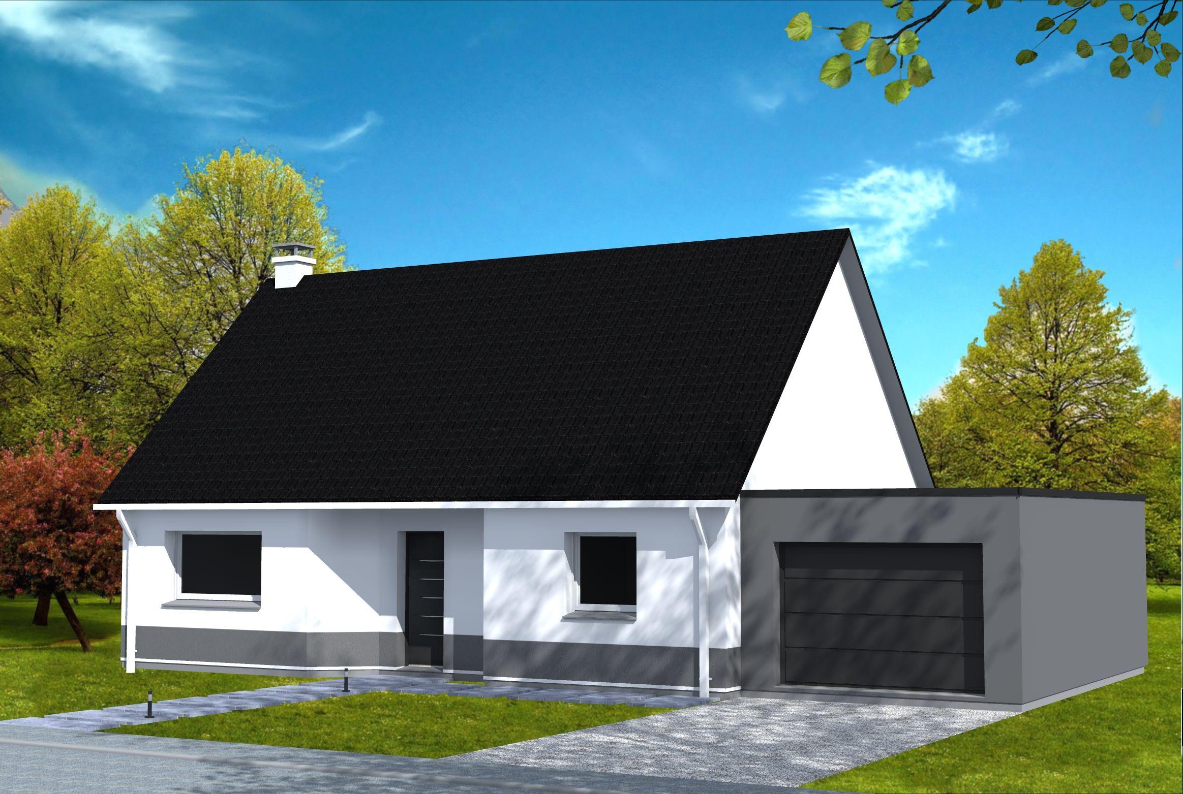 Maison cubique maison moderne cubique avec toiture 4 pans, en ...