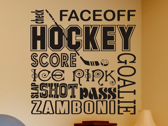 Hockey Wall Decal Kids Bedroom Decor Art Man Cave Mancave Stick Boys Bed Room Decorations Vinyl Lettering Sticker