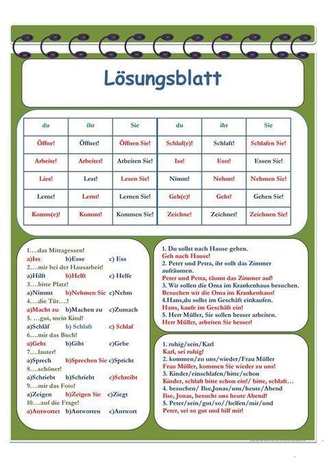 Imperativ | Pinterest | German words and Worksheets