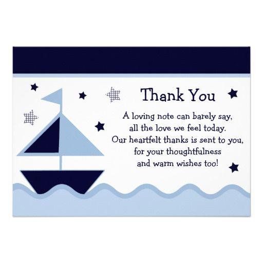 Nautical/Sailboat/Navy Baby Shower Thank You Card | Sailboats ...