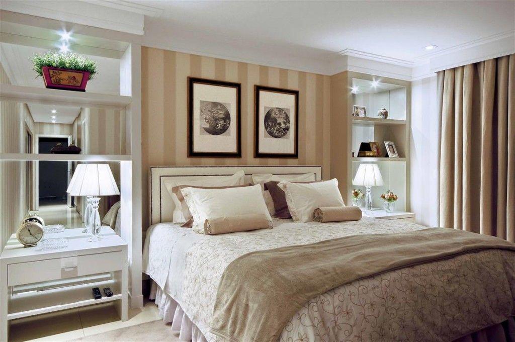 Nichos nas laterais da cama quartos aconchegantes  ~ Quarto Casal King Size
